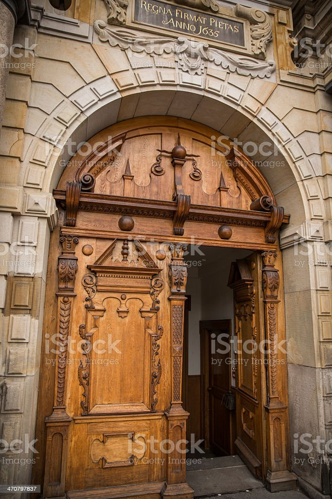 Beautifully carved wooden entrance portal to Holmens Church, Copenhagen stock photo