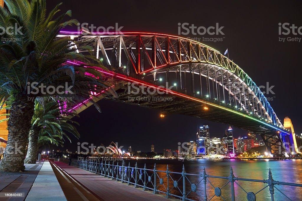 Beautifully colored Vivid Harbor Bridge royalty-free stock photo