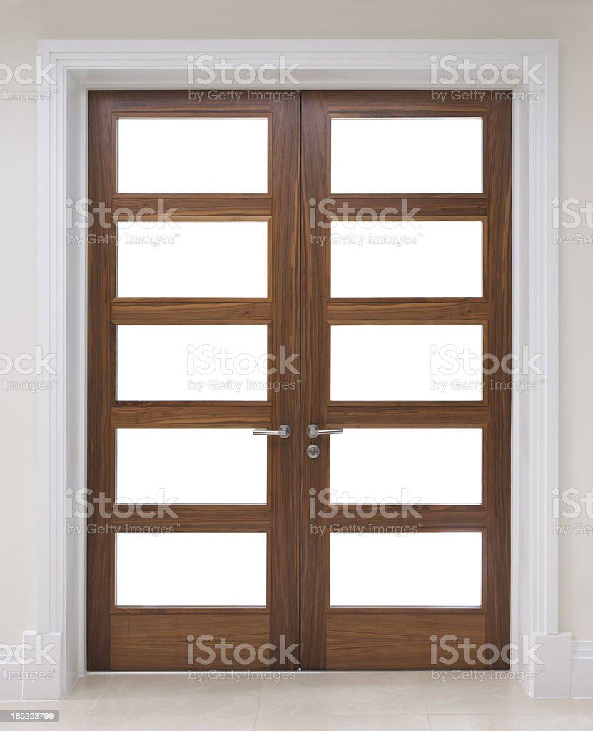 beautifully crafted walnut doors stock photo