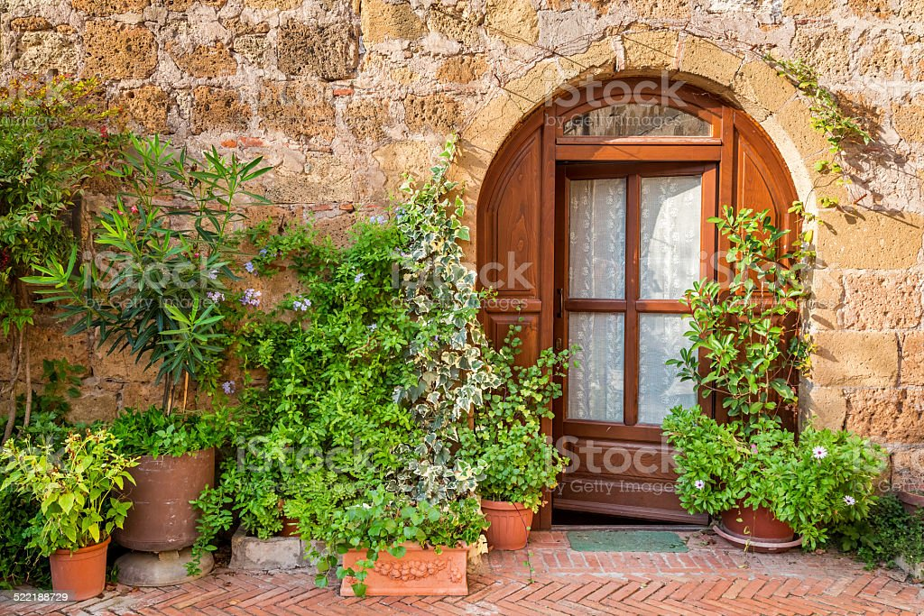 Beautifully decorated porch in Tuscany stock photo