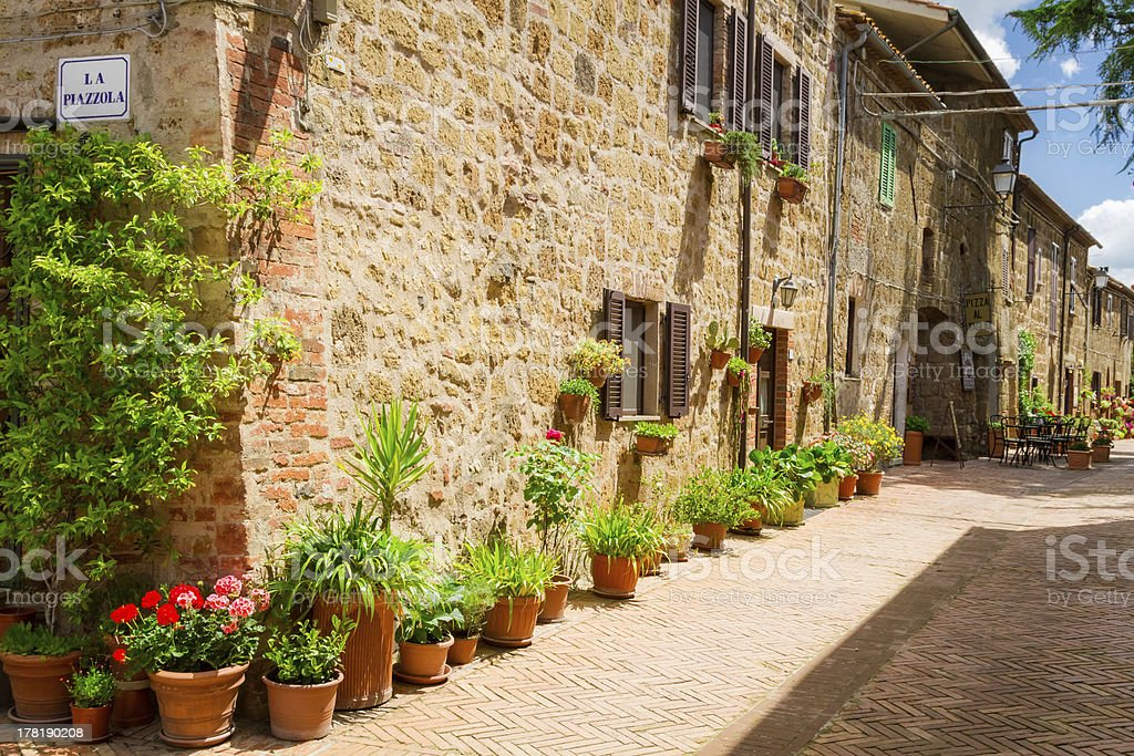 Beautifully decorated street in the old town, Italy royalty-free stock photo