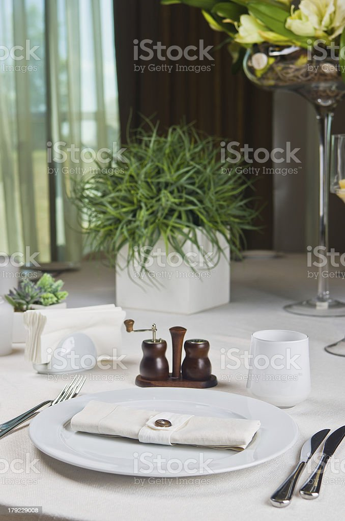 Beautifully decorated table in the restaurant royalty-free stock photo