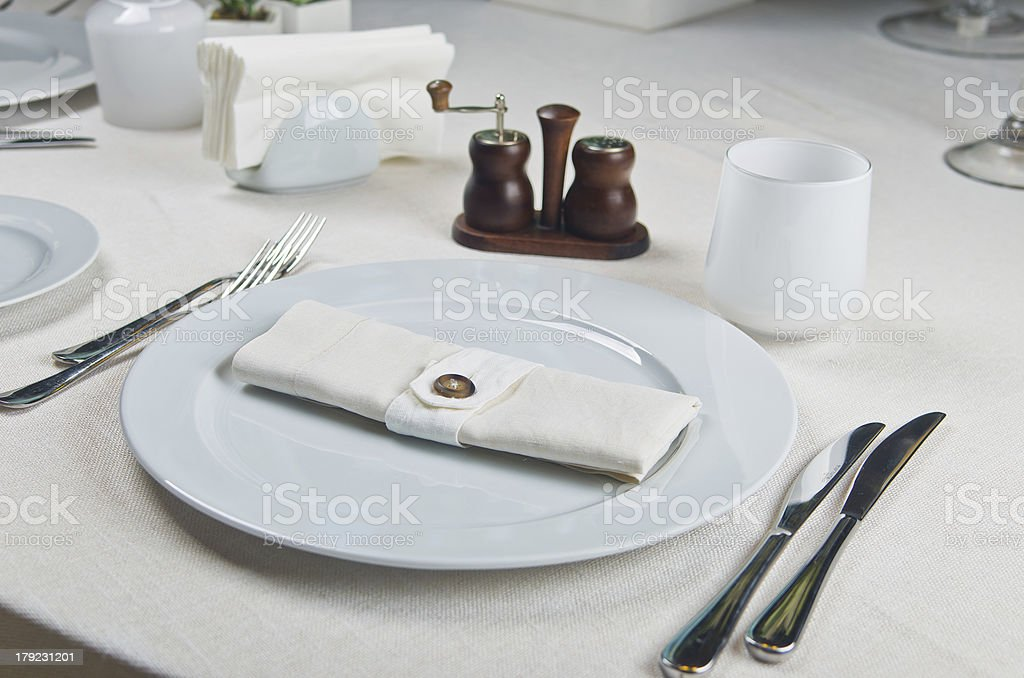 Beautifully decorated table in the restaurant. royalty-free stock photo