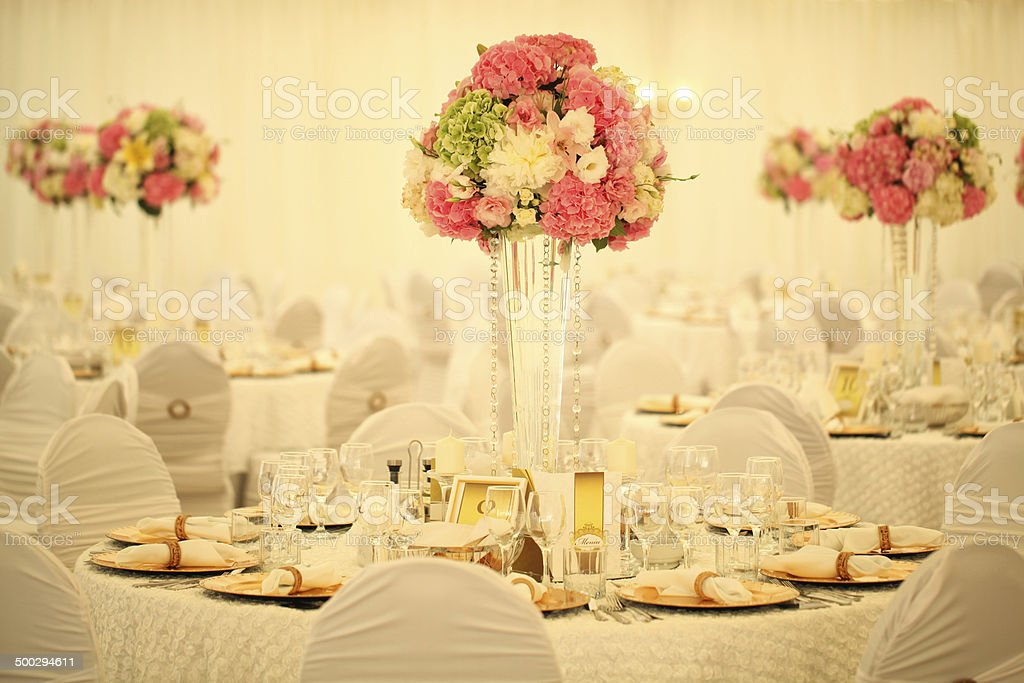 Beautifully decorated wedding table stock photo