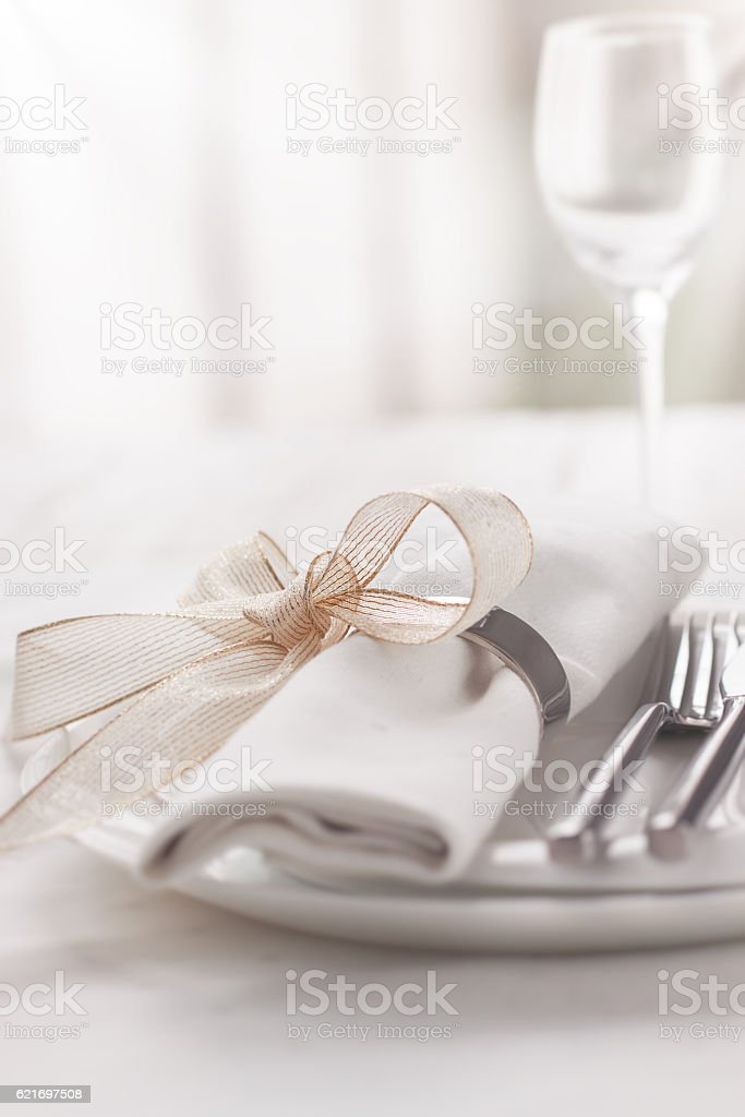Beautifully elegant decorated table for holiday stock photo