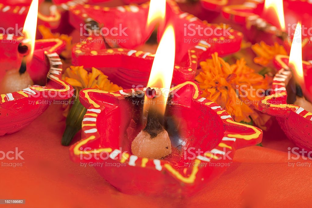 Beautifully Lit Lamps for the Hindu Diwali festival royalty-free stock photo