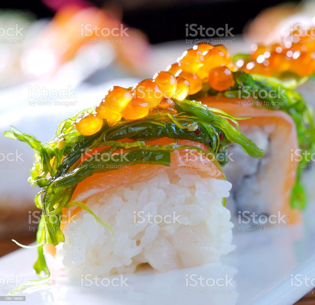 Beautifully plated Big Maki Sushi  royalty-free stock photo