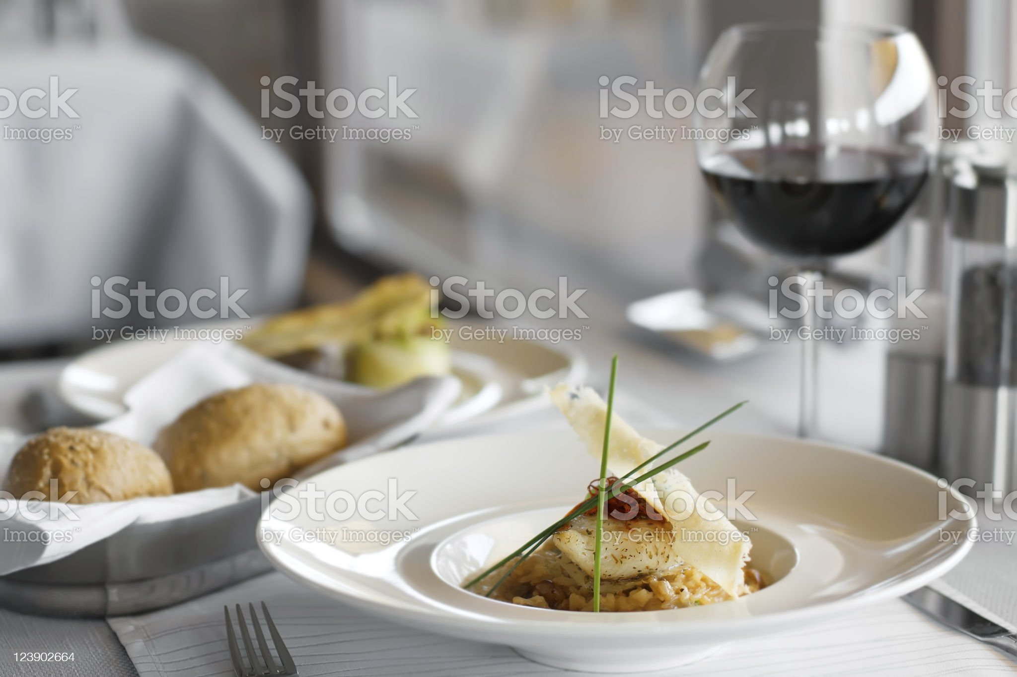 Beautifully plated meal on restaurant table royalty-free stock photo