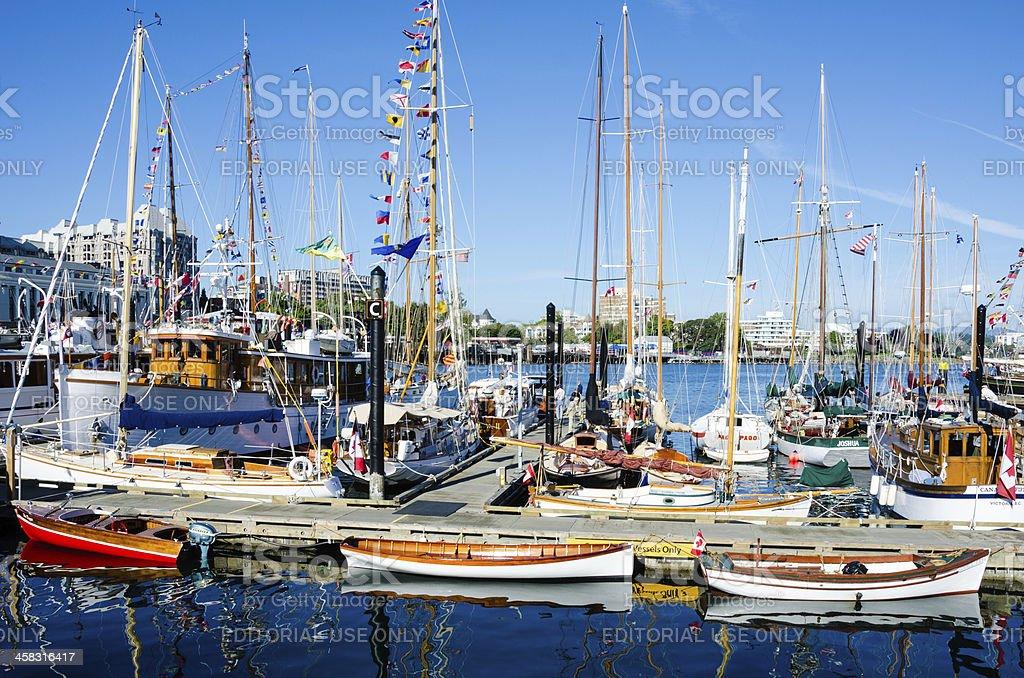 Beautifully restored classic boats royalty-free stock photo