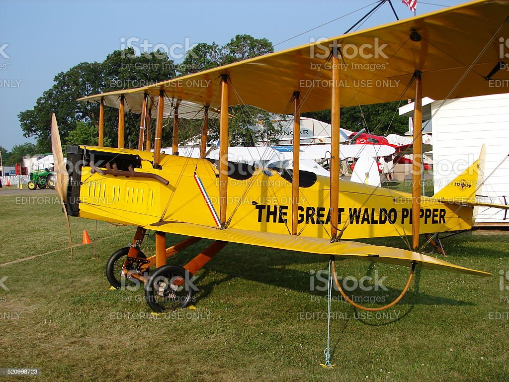 Beautifully restored Curtiss Jenny JN-4 barnstormer. stock photo