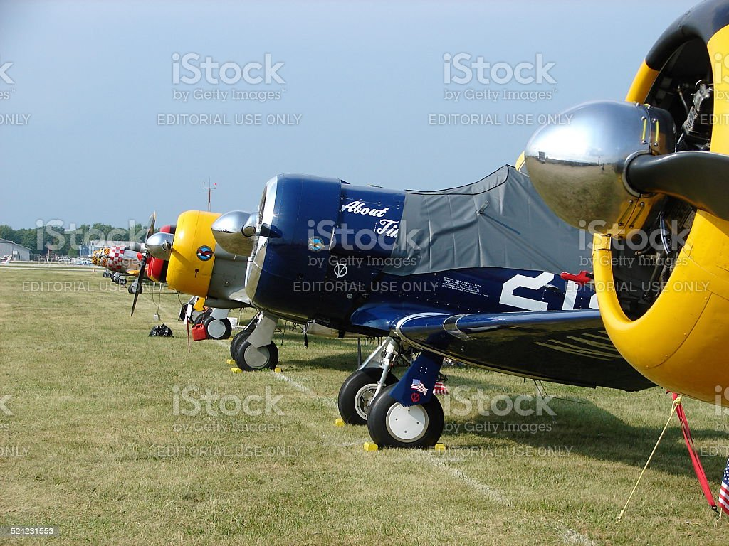 Beautifully restored North American AT-6 Texans. stock photo