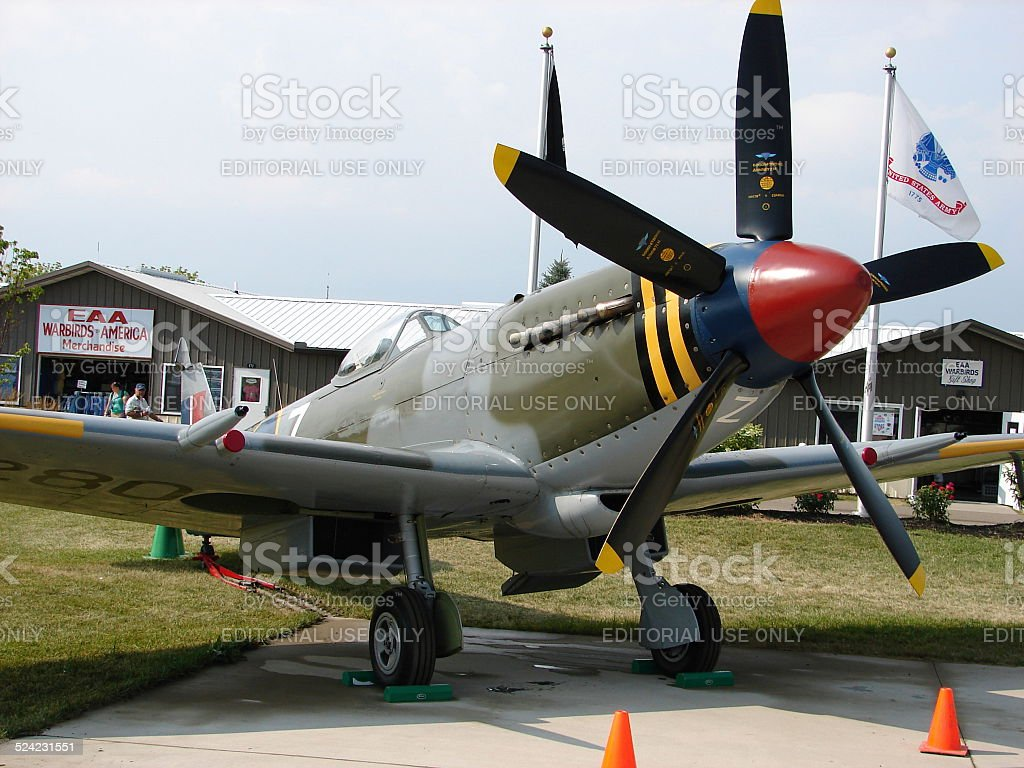 Beautifully restored Supermarine Spitfire MK18 fighter. stock photo