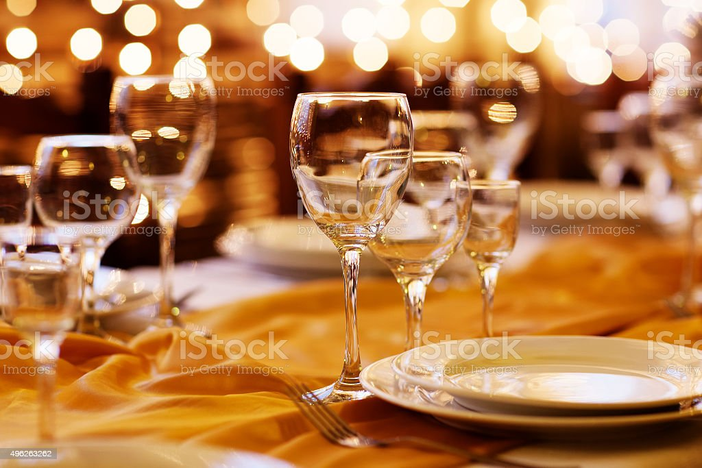 beautifully served table in a restaurant stock photo