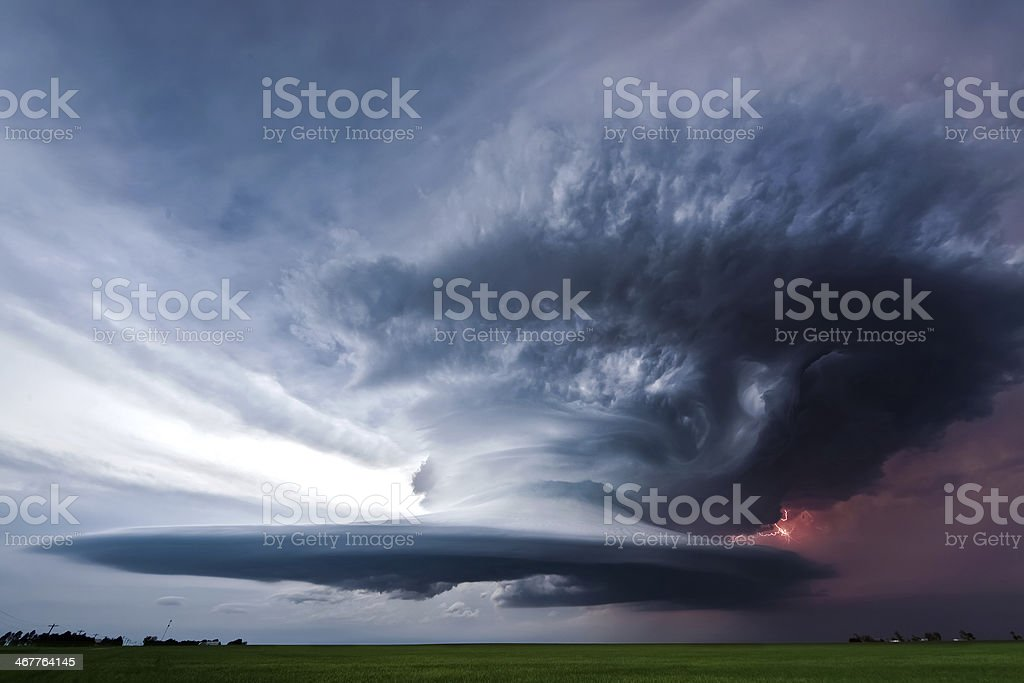 Beautifully structured supercell thunderstorm in American Plains stock photo