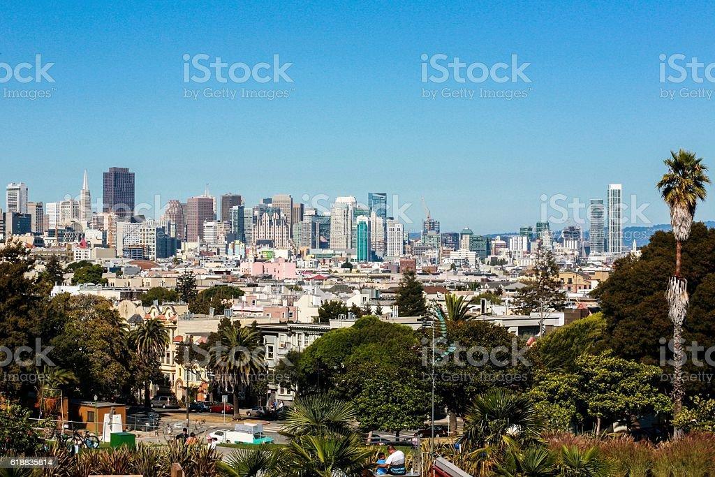 Beautiful/Sunny San Francisco (Dolores Park) Palm Trees stock photo