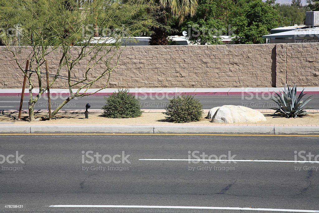 Beautifying The Highway With Drought Resistant Plants royalty-free stock photo