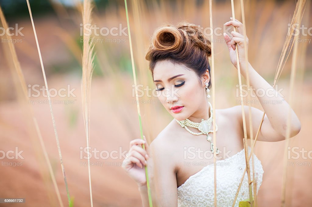 beautuful bride in forest stock photo