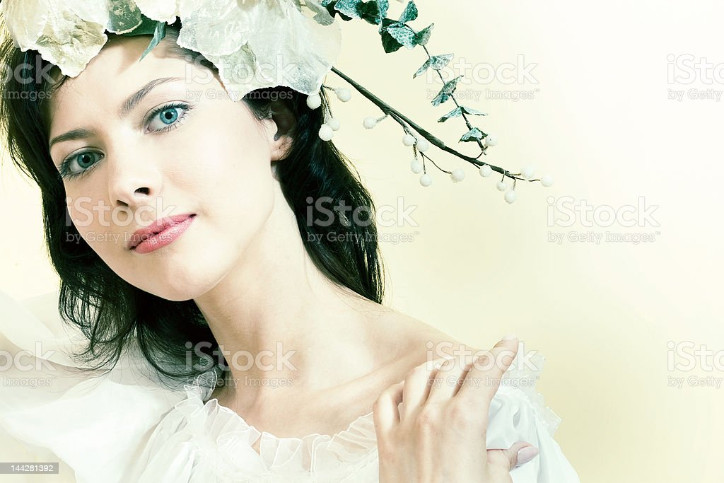 beauty and flowers royalty-free stock photo
