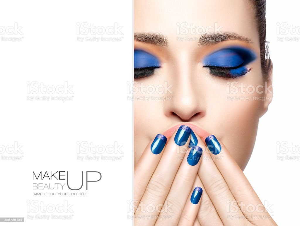 Beauty and Makeup concept. Blue Fashion Make-up stock photo