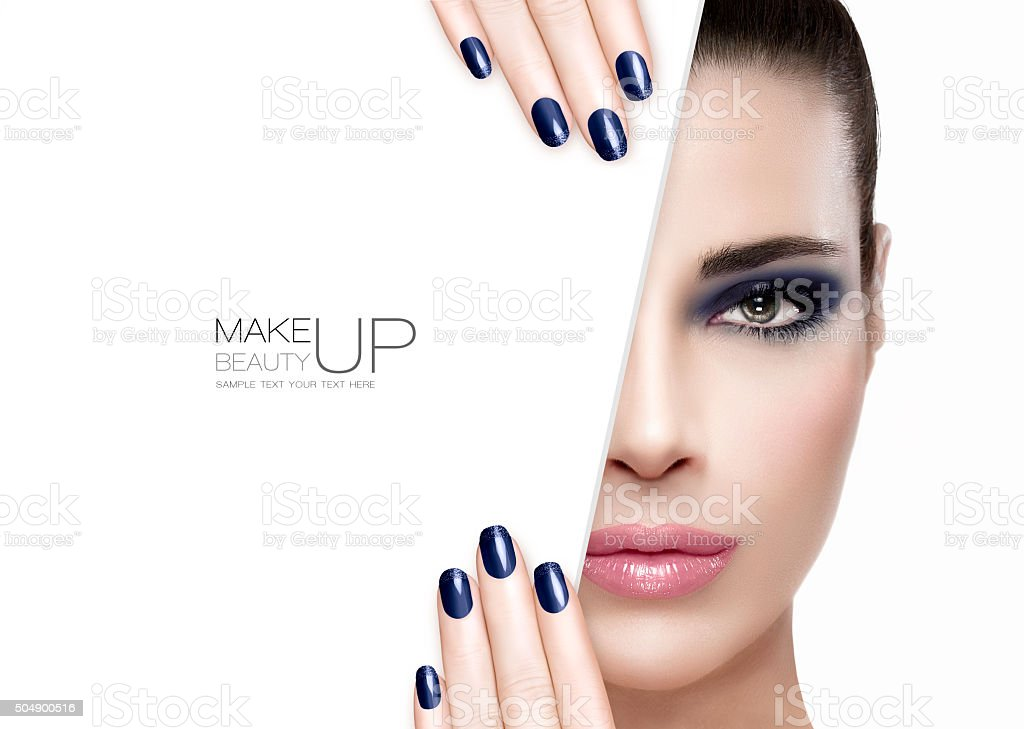Beauty and Makeup Concept. Blue Nail Art and Make-up stock photo