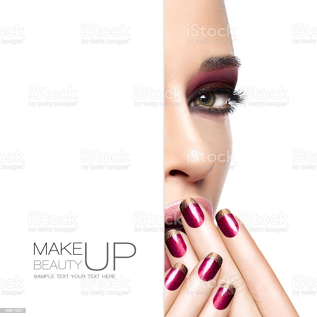 Beauty and Makeup concept. Fashion Make-up and Nails stock photo
