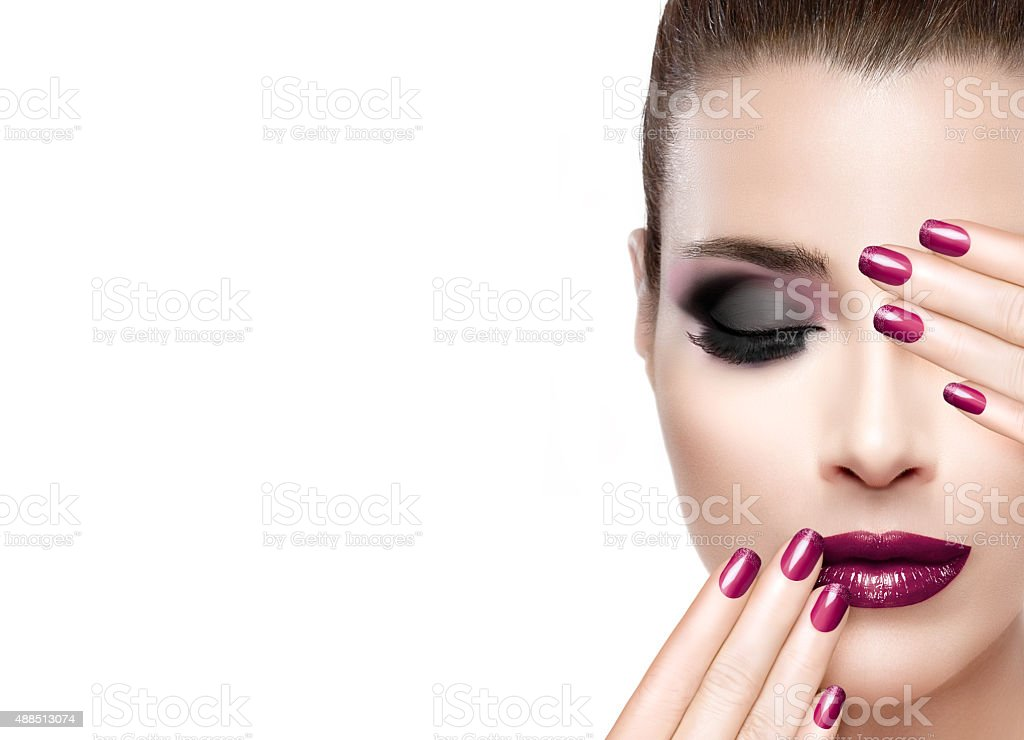 Beauty and Makeup concept. Luxury Nails and Make-up stock photo