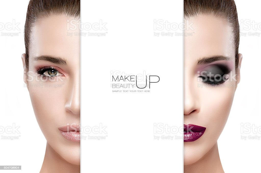 Beauty and Makeup concept. Two Half Faces Isolated stock photo