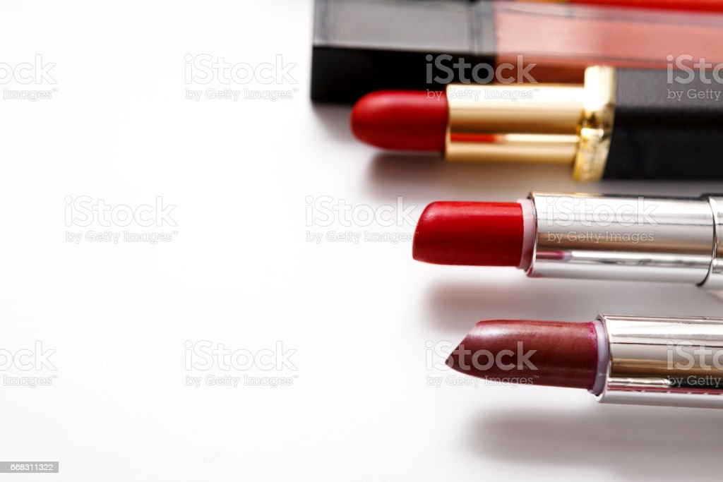 Beauty and makeup cosmetics, flat lay of lipsticks stock photo