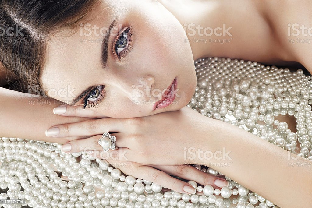 Beauty and pearls stock photo