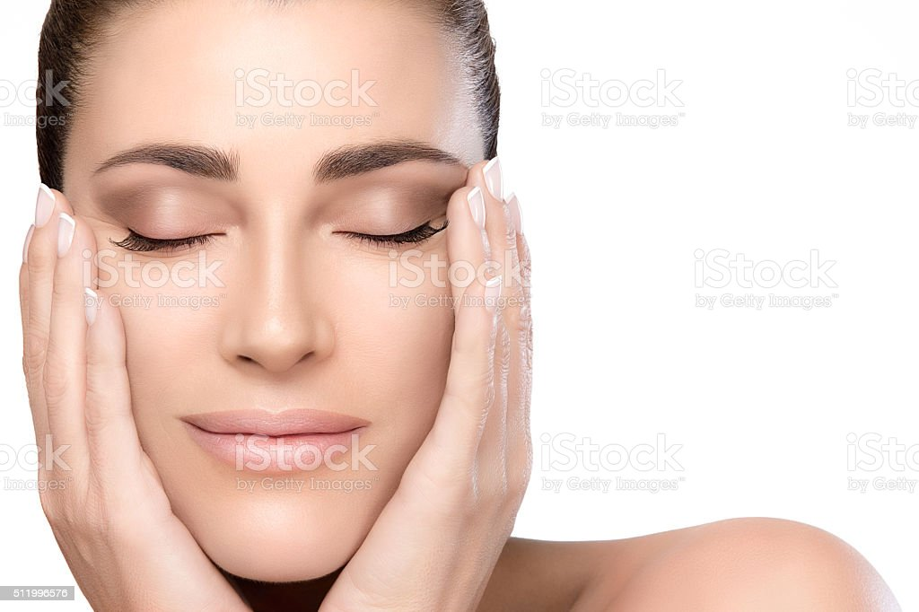 Beauty and Skincare Concept. Natural Young Woman Face stock photo