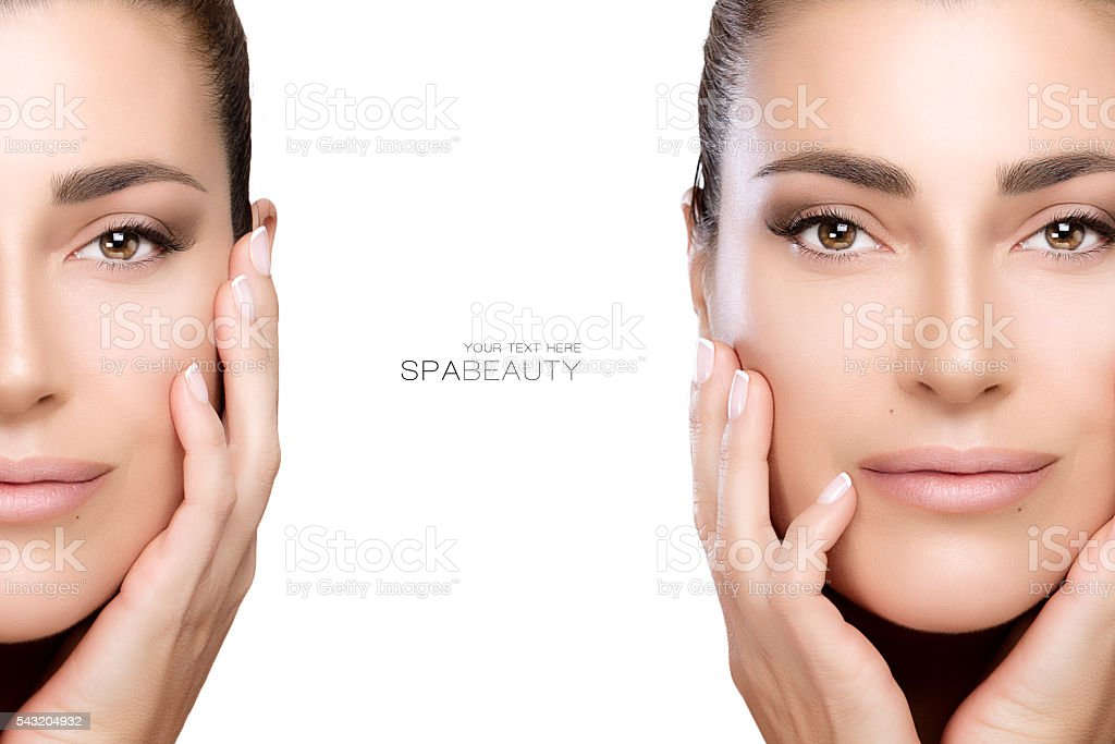 Beauty and Skincare concept. Two Face Portraits stock photo