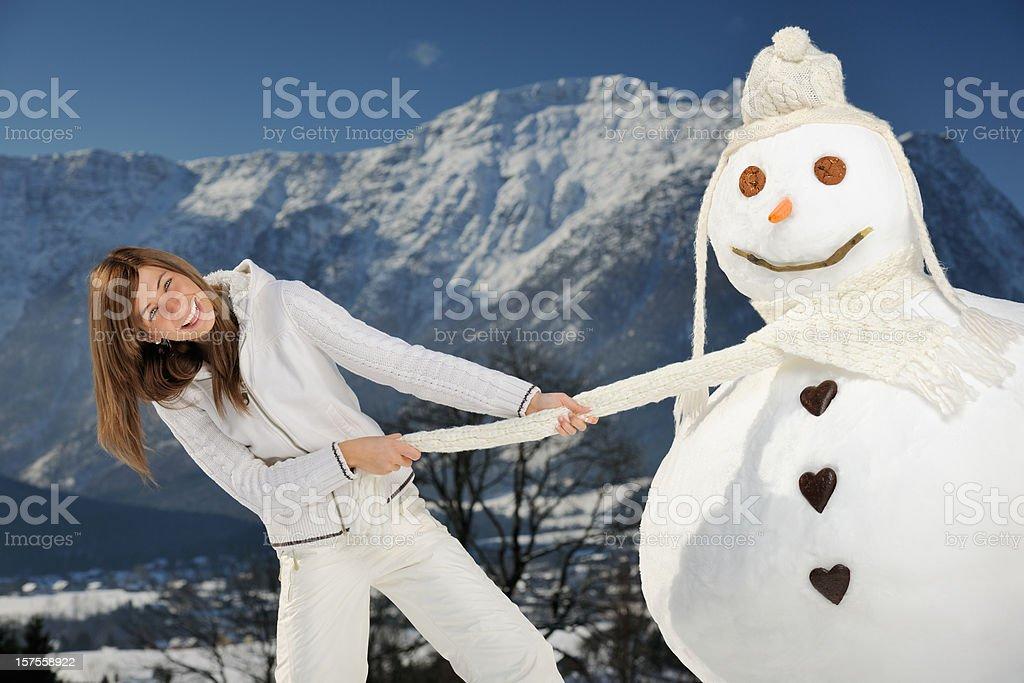 Beauty and the Snowman (XXXL) royalty-free stock photo