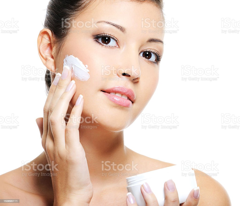 Beauty asian female skincare of her face royalty-free stock photo