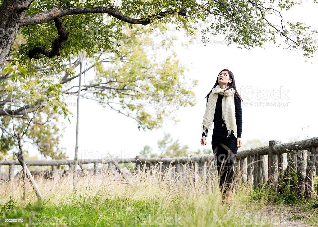 Beauty asian model in natural scene stock photo