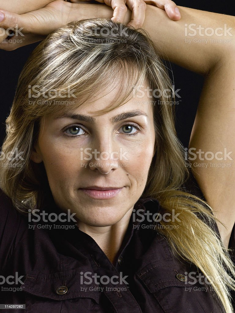 Beauty at her forties (no make up) stock photo