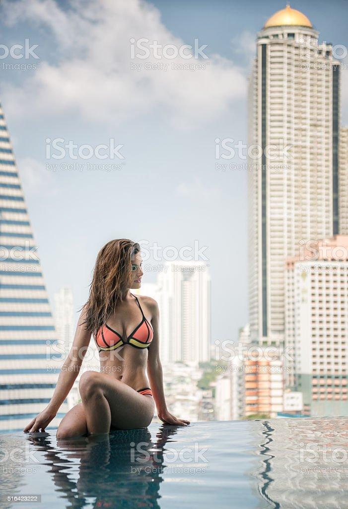 Beauty at the Pool, Bangkok High Class City Life, Thailand stock photo