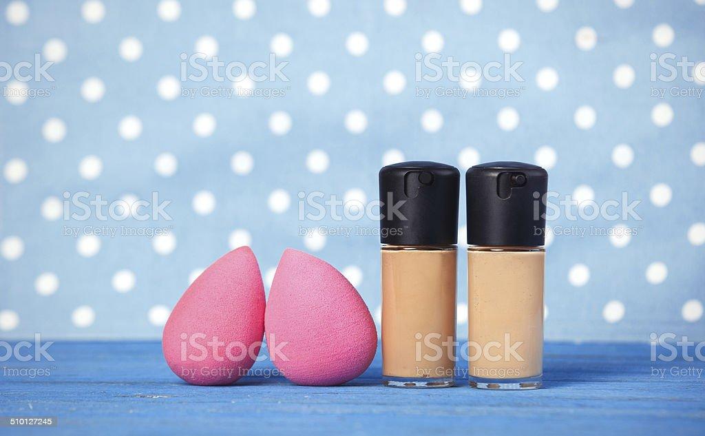 Beauty blender on blue background. stock photo