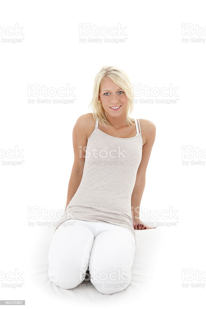 Beauty blond Teenager portrait on white royalty-free stock photo