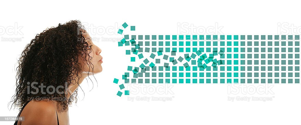 Beauty blowing data (creative digital life) stock photo