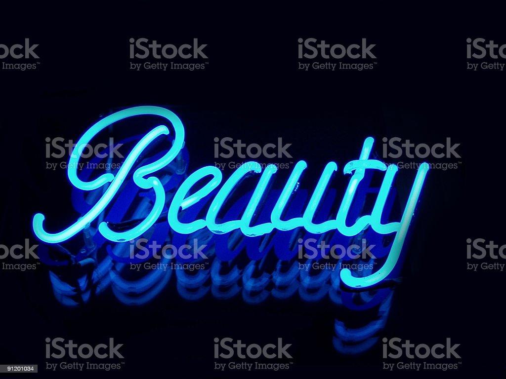 Beauty blue neon sign stock photo
