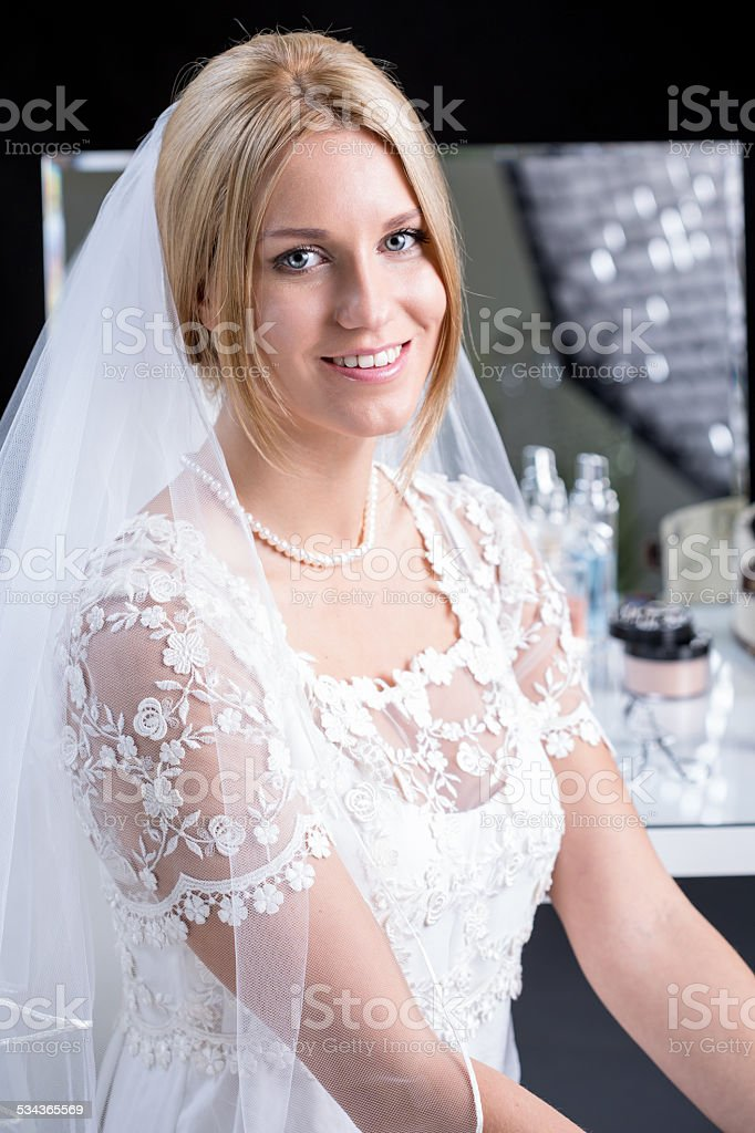 Beauty bride in wedding dress stock photo