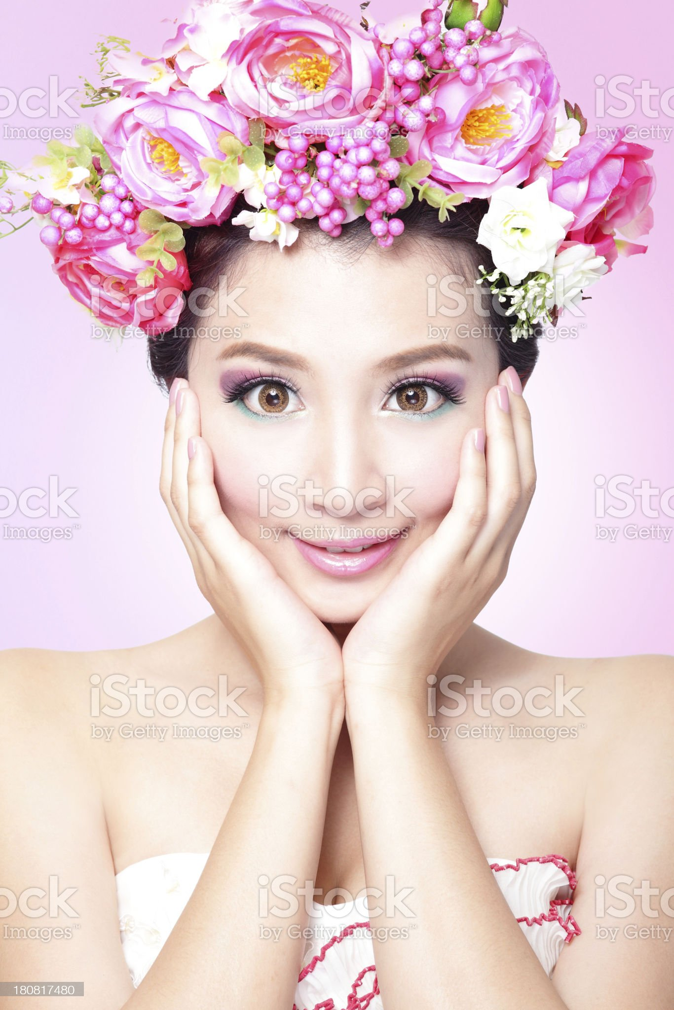 Beauty bride smile face with Professional Makeup royalty-free stock photo