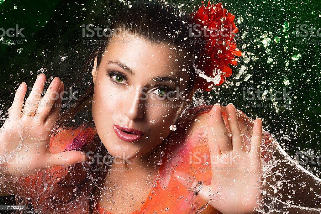 Beauty Brunette Girl. Water Splash stock photo