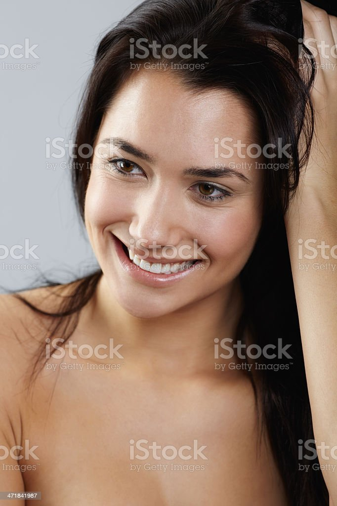 Beauty brunette woman portrait hand in hair royalty-free stock photo