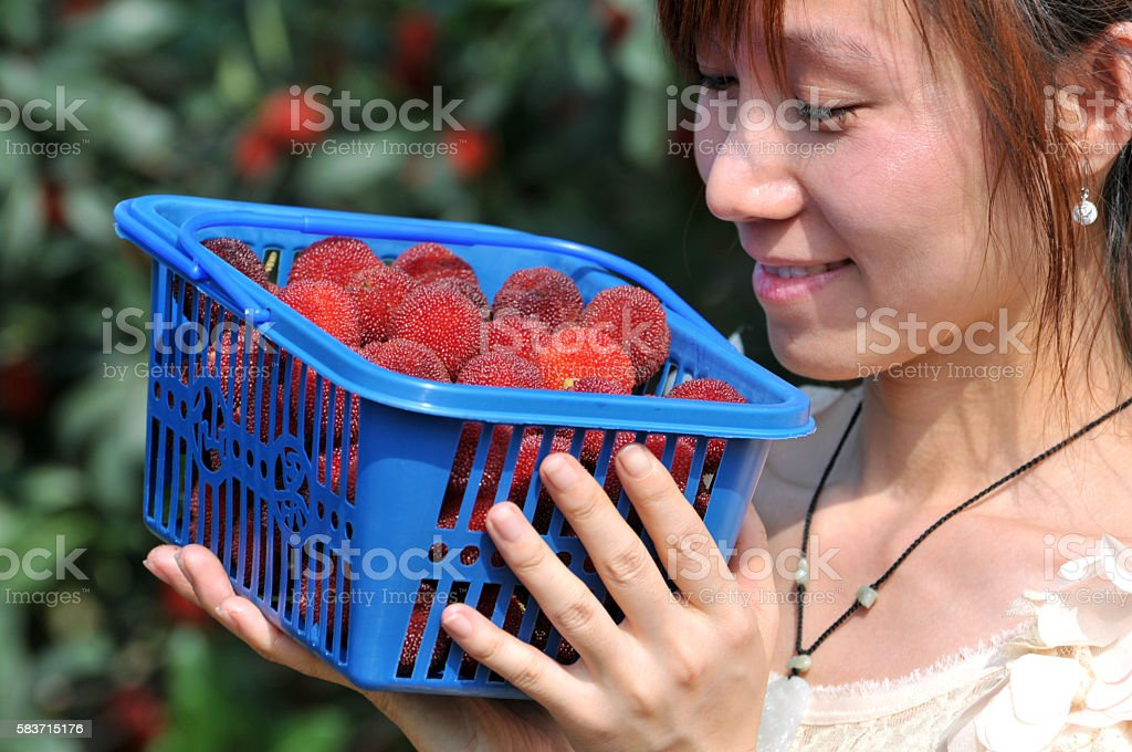 Beauty chinese girl with freshness arbutus stock photo