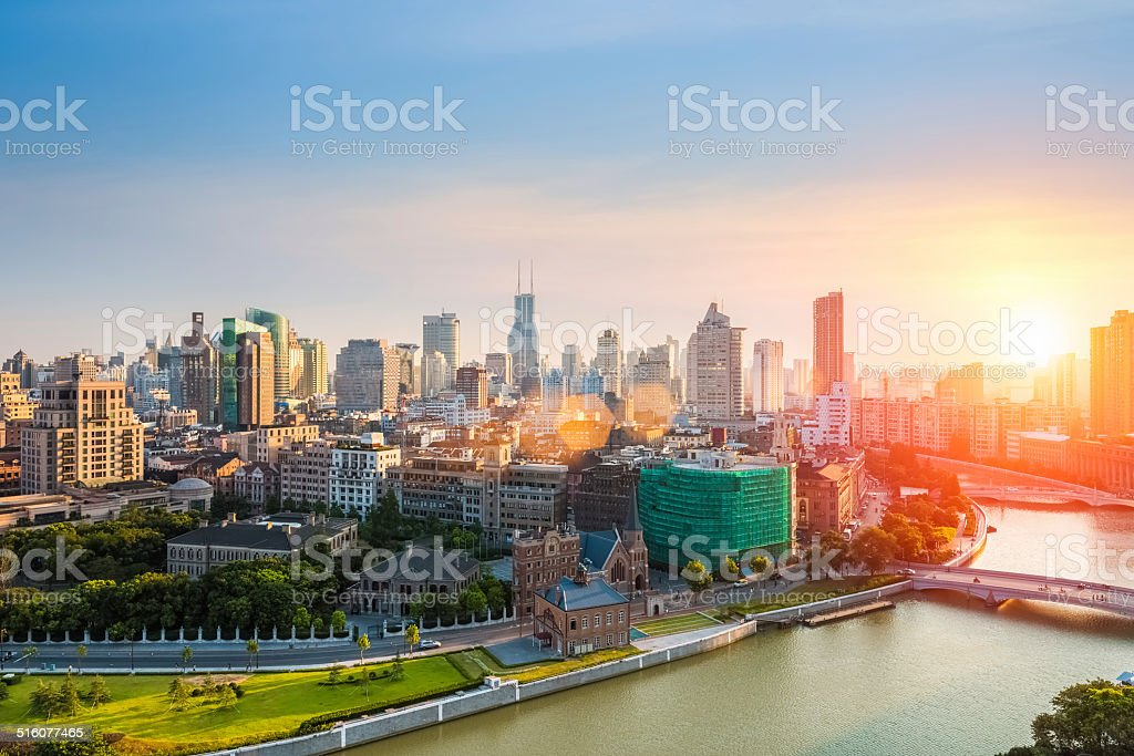 beauty cityscape of shanghai in sunset stock photo