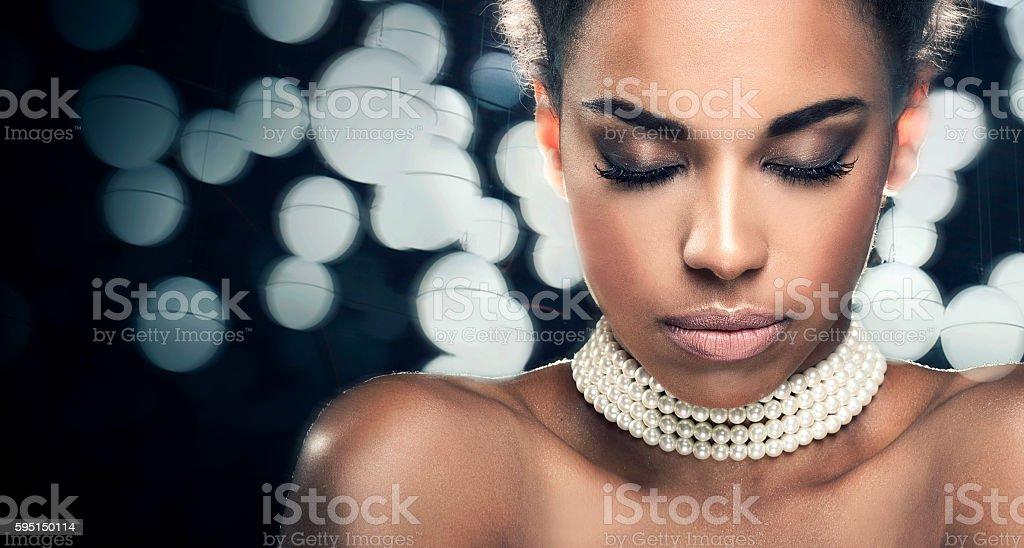 Beauty closeup portrait of elegant woman. stock photo