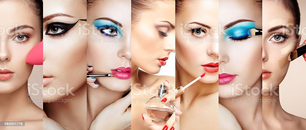 Beauty collage faces of women stock photo