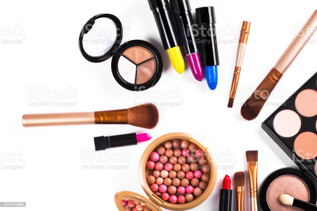 beauty colored cosmetic palette isolated stock photo
