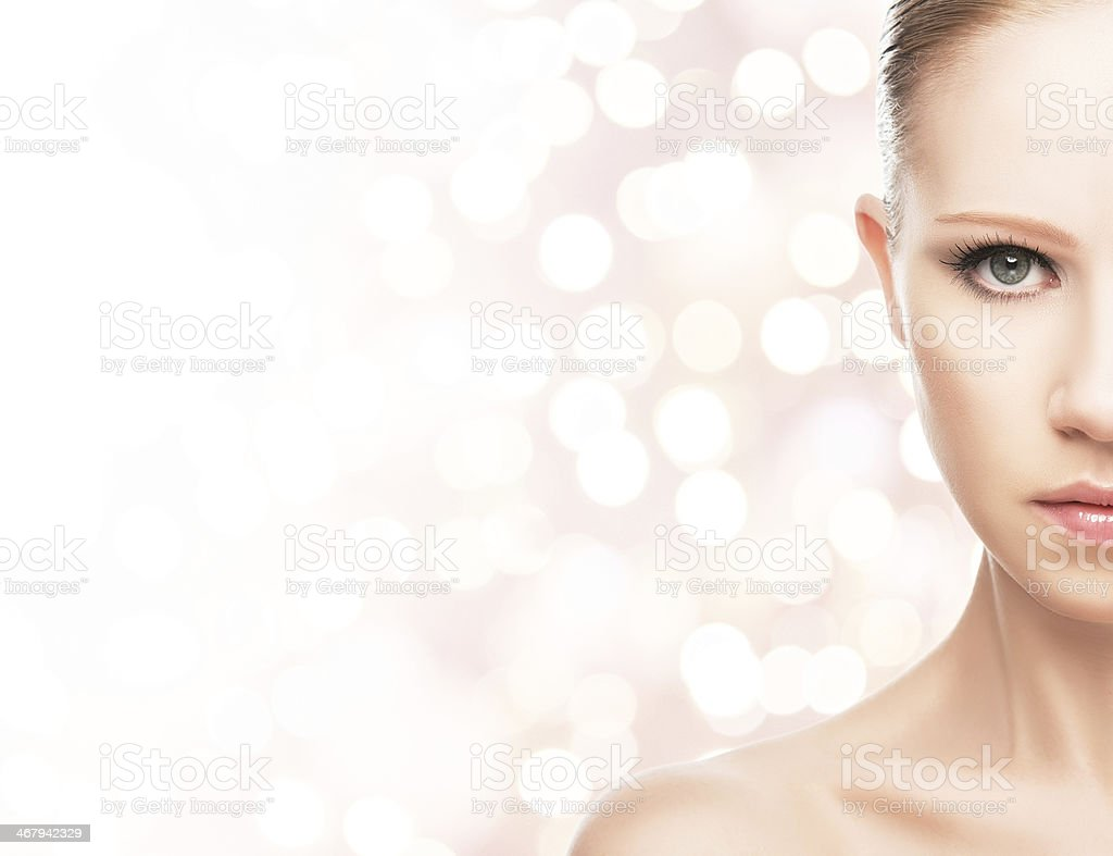 beauty concept. face of a young healthy woman stock photo
